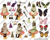 Digital Collage Sheet Fairies Mushrooms (Sheet no. FM3) Instant Download