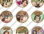 Digital Collage Sheet Bottle Cap 1 inch Circles Girlfriends (Sheet no.FS86) Instant Download