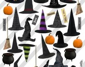 Digital Collage Sheet Halloween Witches Hats (Sheet no. H12) Instant Download