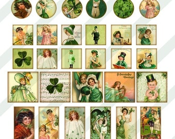 Digital Collage Sheet St. Patrick's Day Various Sized Images for Slides and  Charms (Sheet no. FS82) Instant Download