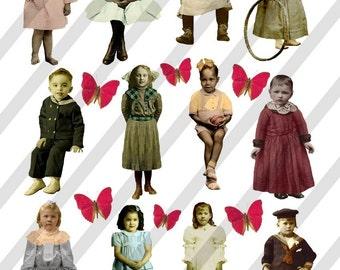 Digital Collage Sheet Children (Sheet no. F4) Instant Download