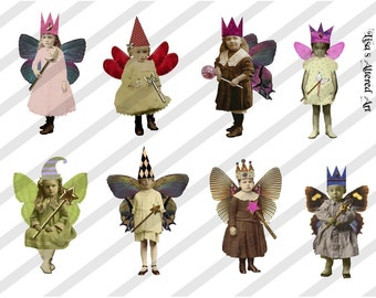 Digital Collage Sheet Fairies With Wings 8 (Sheet no FW8) Instant Download
