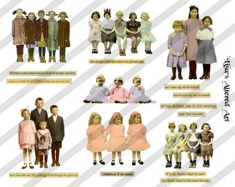 Digital Collage Sheet ,Vintage Children in Groups No. 2, PNG file available (Sheet no. S7) Instant Download