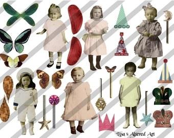 Digital Collage Sheet Larger Fairies 3 (Sheet no.B3) Instant Download