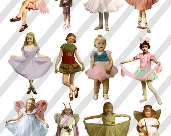 Digital Collage Sheet Fairies Dancers and Fairy Children (Sheet no. F29) Instant Download