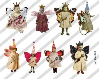 Digital Collage Sheet Fairies With Wings 4 (Sheet no. FW4) Instant Download