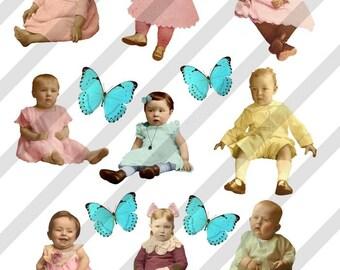 Digital Collage Sheet Children (Sheet no.F27) Instant Download
