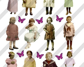 Digital Collage Sheet Vintage Children (Sheet No.F3) Instant Download