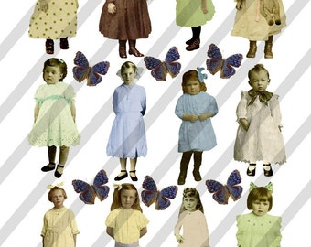 Digital Collage Sheet Vintage Children F11 (Sheet no. F11) Instant Download