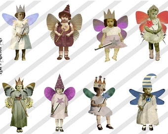 Digital Collage Sheet Fairies With Wings (Sheet no. FW7) Instant Download