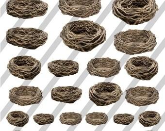 Digital Collage Sheet Birds Nests (Sheet no. FS8) Instant Download