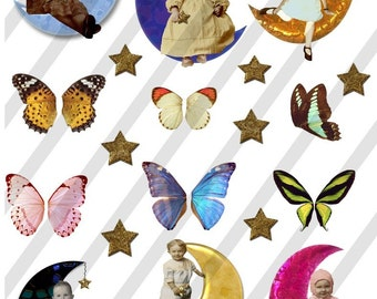 Digital Collage Sheet Children Moons Stars (Sheet no.FM2) Instant Download