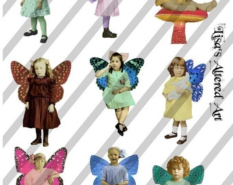 Digital Collage Sheet Fairies With Wings 21 (Sheet no. FW21) Instant Download