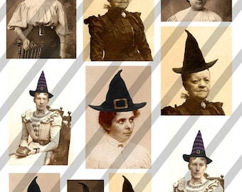 Digital Collage Sheet Witches Halloween (Sheet no. H8) Instant Download