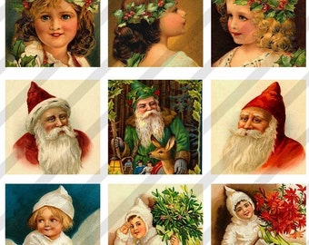 Digital Collage Sheet Altered Art Slide Images  1.5 X1.5  Christmas Card Images (Sheet no.FS73) Instant Download