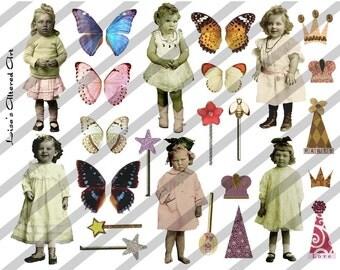 Digital Collage Sheet Larger Fairies 2 (Sheet no. B2) Instant Download