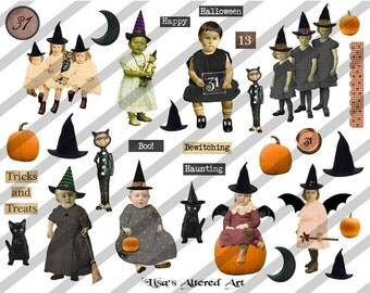 Halloween Digital Collage Sheet, Halloween Images (Sheet no. H9) Instant Download
