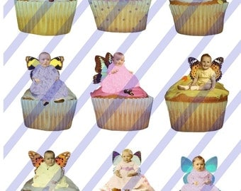Digital Collage Sheet Mini Birthday Cupcake Fairies (Sheet no. FS20) Instant Download