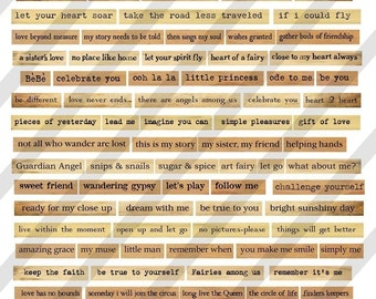 Digital Phrase Collage Sheet 3 (sheet no. FS11) Instant Download