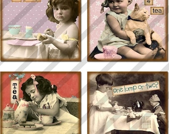 Digital Collage Sheet Altered Art Slide Images 1.5 X1.5  Tea Party (Sheet no. FS92) Instant Download