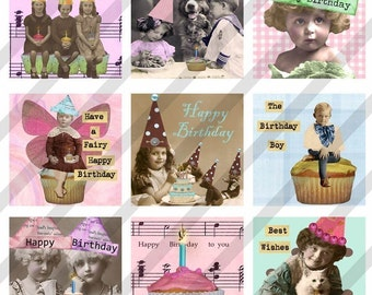 Digital Collage Sheet  Altered Art Slide Images  1.5 X1.5  Happy Birthday (Sheet no. FS64) Instant Download