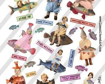 Digital Collage Sheet Fish Fairies (Sheet no. FS96) Instant Download