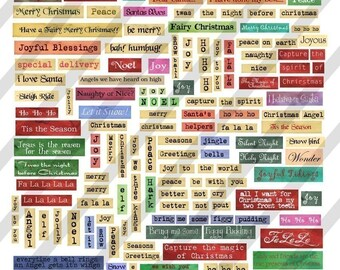 Digital Christmas Phrases and Words Collage Sheet (Sheet no. FS69) Instant Download