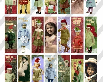 Digital Collage Sheet Altered Art Christmas Images 1 X 3 inch (Sheet no. FS65) Instant Download
