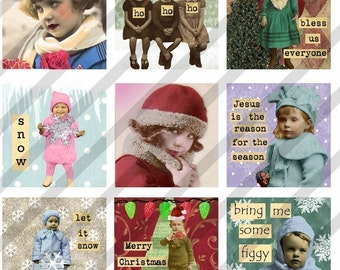 Digital Collage Sheet  Altered Art Slide Images  1.5 X1.5  Christmas  (Sheet no.FS61) Instant Download