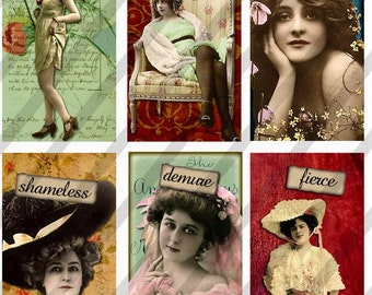 Ladies Domino Digital Collage Sheet Art 1x2 inch Images (Sheet No. FS113) Instant Download
