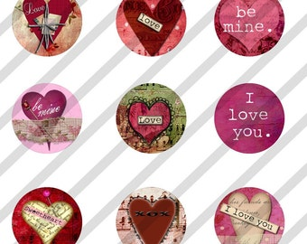 Digital Collage Sheet Bottle Cap 1 inch Circles Hearts Valentines (Sheet no.FS115) Instant Download