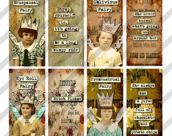 Digital Collage Sheet 1 X 2 inch Domino Sized Troubled Fairies (Sheet no. FS121) Funny-Instant Download