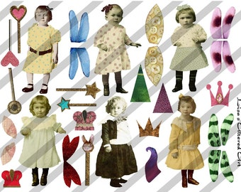 Digital Collage Sheet Larger Fairies 1 (Sheet no.B1) Instant Download
