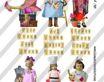 Digital Collage Sheet Queen Series 3 PNG File Available (Sheet no. Q3) Instant Download