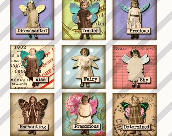 Digital Collage Sheet 63 1X1 inch Charms Inchies Fairies (Sheet no. FS133) Instant Download