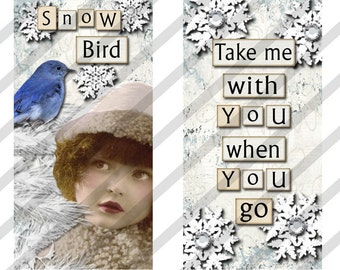 "Digital Collage Sheet Domino Images SNOW Fairies 1"" X 2"" Images. (Sheet No.FS139) Instant Download"