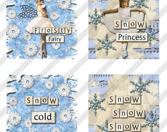 Digital Collage Sheet  1X1 Charms Inchies SnOw QueEns Winter. Christmas (Sheet no. FS147) Instant Download