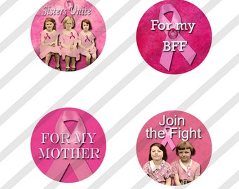 Breast Cancer Digital Collage Sheet Bottle Cap 1 inch Circles Breast Cancer Awareness (Sheet no.FS150) Pink  Instant Download