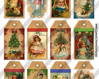 Digital Collage Sheet Christmas Tags (Sheet no. O37) Instant Download