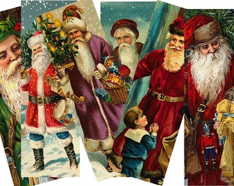 Digital Collage Sheet Christmas 1X3 Santa Images (Sheet no. O90) Instant Download