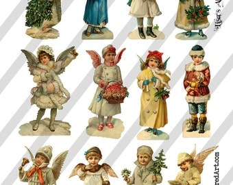 Digital Collage Sheet Victorian Christmas Images (Sheet no. O92) Instant Download