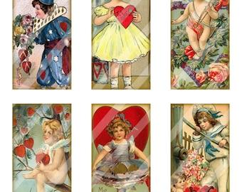 Digital Collage Sheet Domino Valentine Images 1X2 (Sheet no. O38) Instant Download