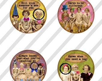 1 inch Circles, Digital Collage Sheet, Bottle Cap, Round Images,  Girlfriends NO. 2 (Sheet no.FS157) Instant Download