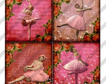 Digital Collage Sheet Ballet Art Slide Images 1.5 X1.5  Pink Ballerinas (Sheet no. FS167) Instant Download