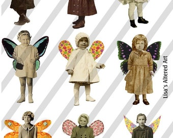 Digital Collage Sheet Fairies With Wings 18 (Sheet no. FW18) Instant Download