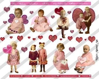 Digital Collage Sheet Valentine Children 3 (Sheet no. H11) Instant Download