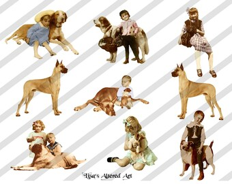 Dogs Digital Collage Sheet-Dogs with Children (Sheet no. FS23) Instant Download