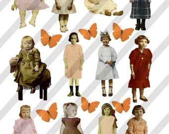 Digital Collage Sheet Vintage Children 2 (Sheet no. F2) Instant Download