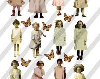 Digital Collage Sheet Children  (Sheet No. F1) Instant Download