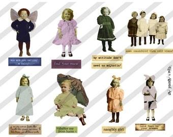 Digital Collage Sheet Children ATC 4 (Sheet no. A4) Instant Download